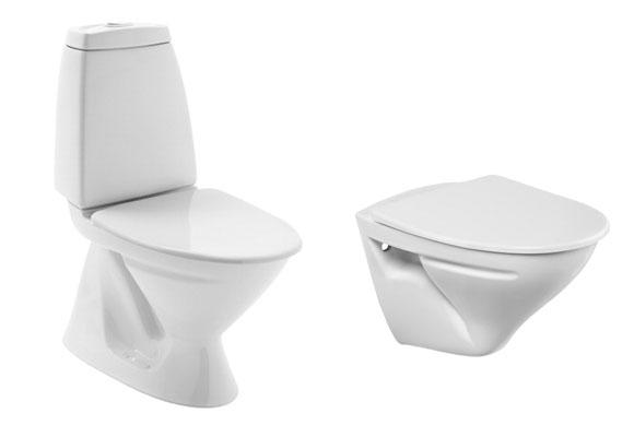 veggmontert og gulvmontert toalett