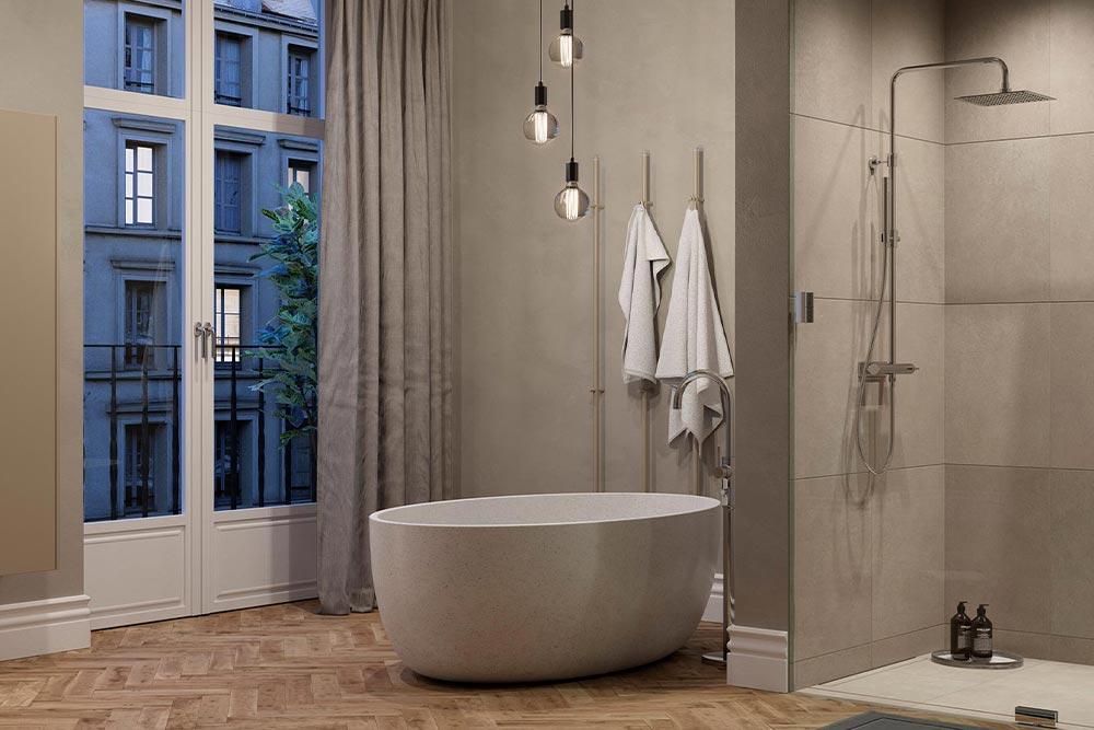 Et frittstående badekar er lekkert