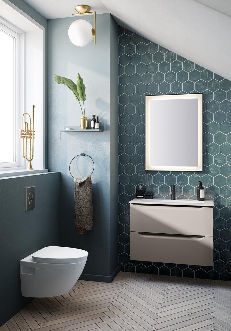 Du kan fint velge noe annet en firkantede fliser på badet