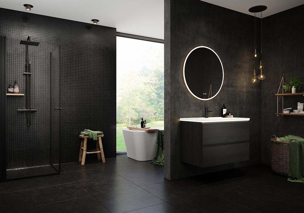 matchende detaljer på badet
