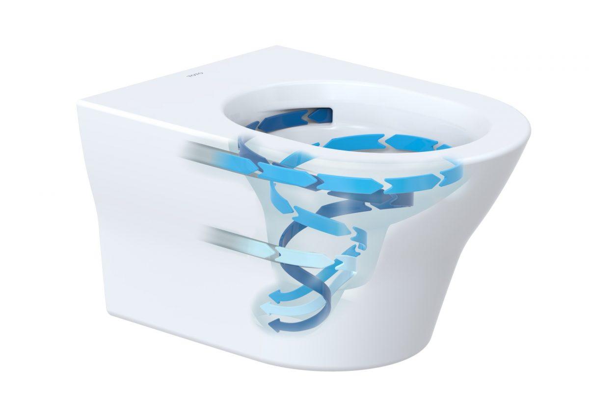 Toto MH er et vegghengt toalett uten spylekant, og her ser du hvordan deres skyllemekanisme fungerer.