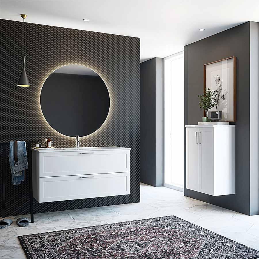 Runde speil er en stor trend på badet for tiden