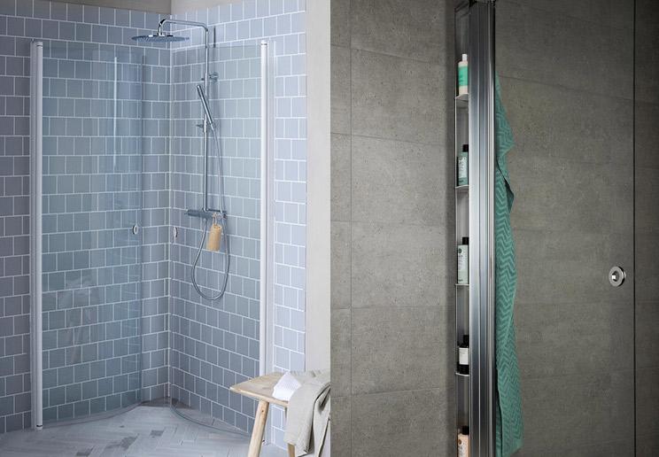 praktisk dusjhørne med vegger som kan slåes sammen