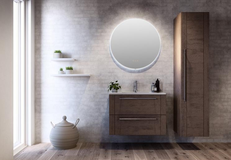 Rundt speil med integrert belysning fra Linn Bad