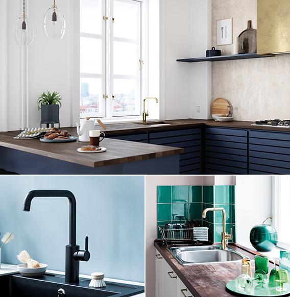 kjøkkenkraner i ulike farger